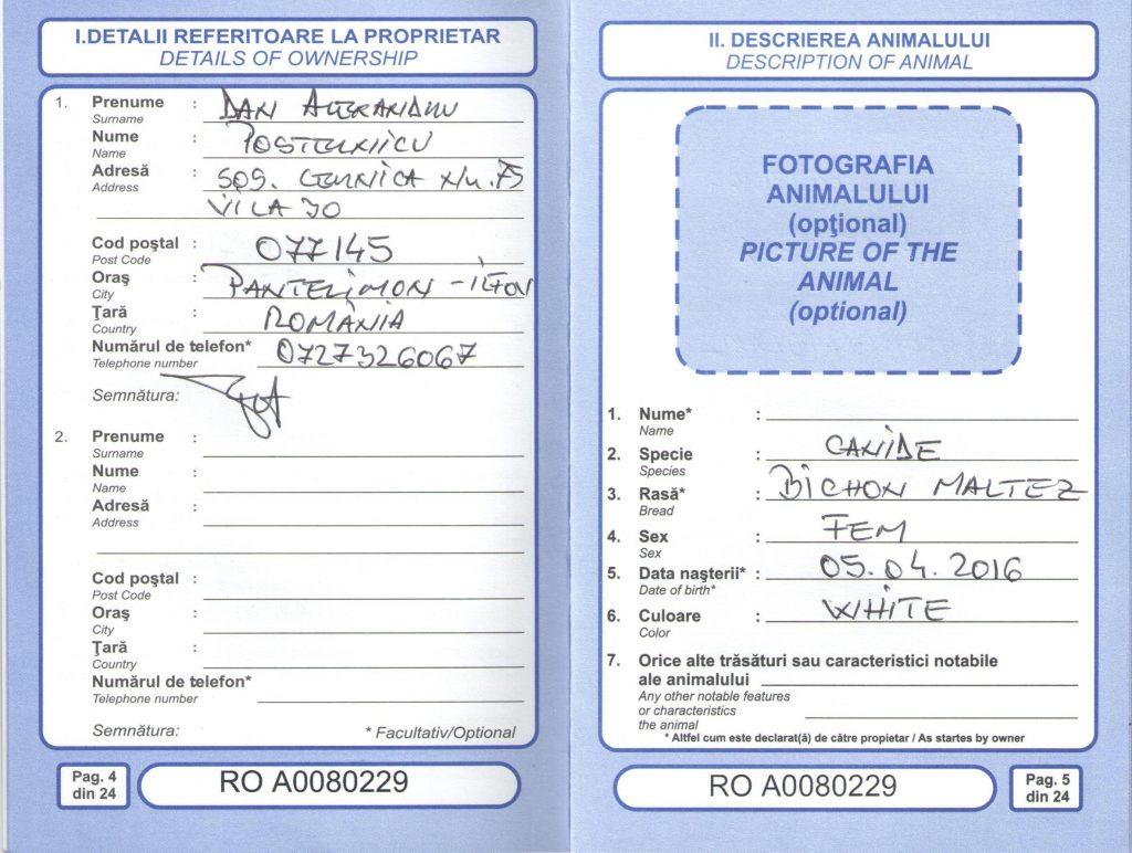 Transport caini si pisici - Pasaport PG2